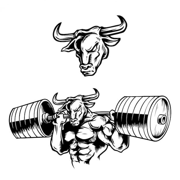 Ilustração de mão desenhada forte muscular bull Vetor Premium