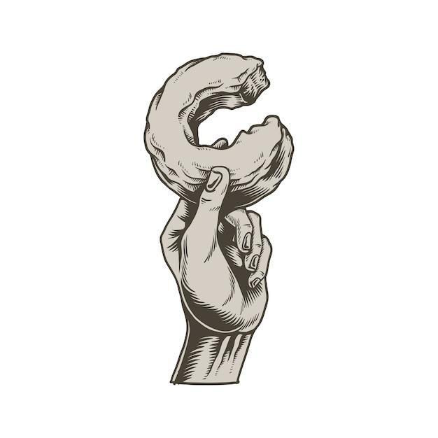 Ilustração de mão segurando o ícone de donut mordido Vetor grátis