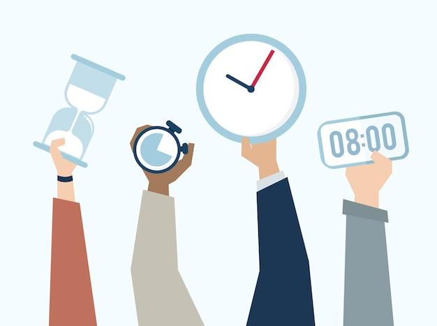 Ilustração, de, mãos, com, tempo, gerência Vetor Premium