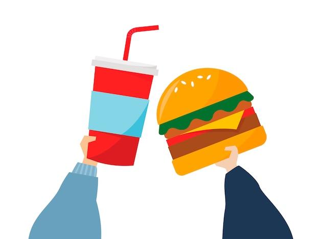 Ilustração de mãos segurando comida lixo Vetor grátis