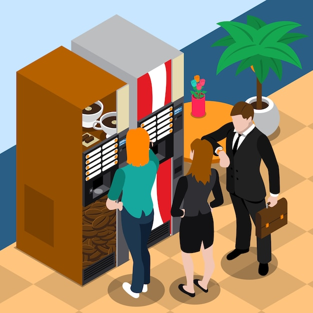 Ilustração de máquina de venda automática de café Vetor grátis