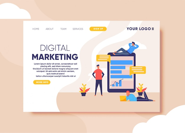 Ilustração de marketing digital para modelo de página de destino Vetor Premium