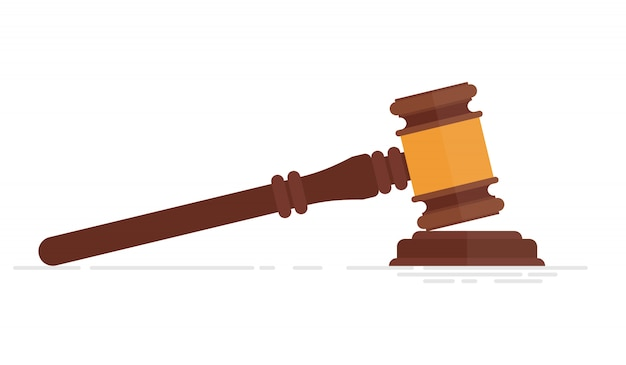 Ilustração de martelo de juiz isolada no fundo branco Vetor Premium