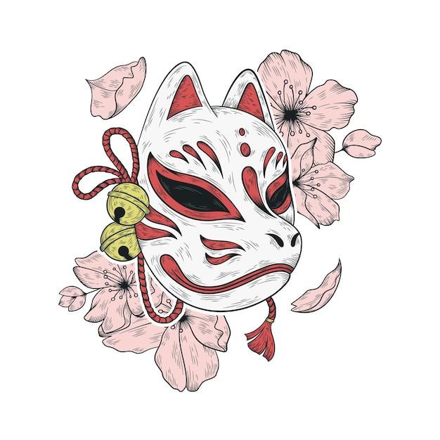 Ilustração de máscara japonesa kitsune e flores de sakura Vetor Premium