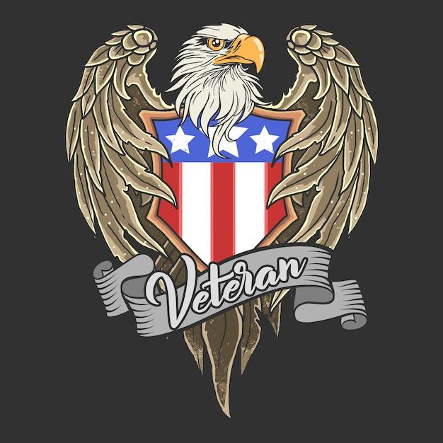 Ilustração de mascote de águia escudo americano Vetor Premium