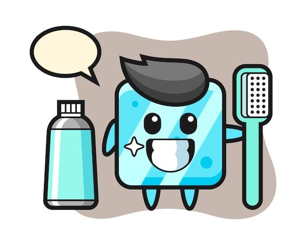 Ilustração de mascote de cubo de gelo com escova de dentes Vetor Premium