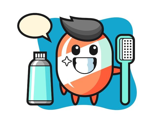 Ilustração de mascote de doces com uma escova de dentes Vetor Premium