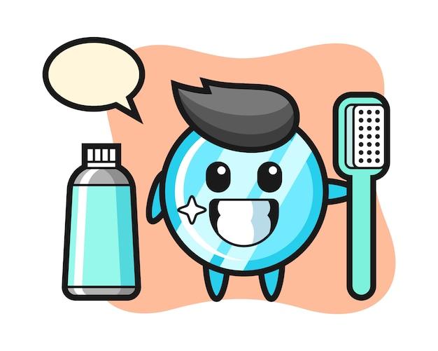Ilustração de mascote de espelho com escova de dentes Vetor Premium