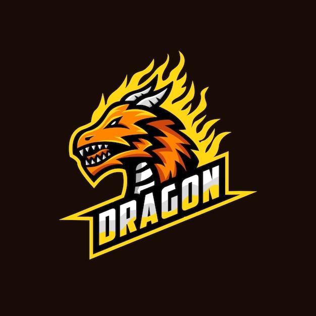 Ilustração de mascote de logotipo de dragão Vetor Premium
