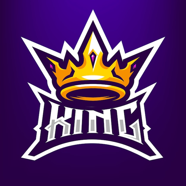 Ilustração de mascote do rei coroa para esportes e esports logotipo isolado em fundo azul escuro Vetor Premium