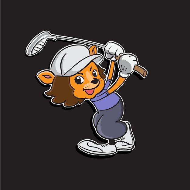 Ilustração de mascote dos desenhos animados de um menino de leão balançando o taco de golfe Vetor Premium