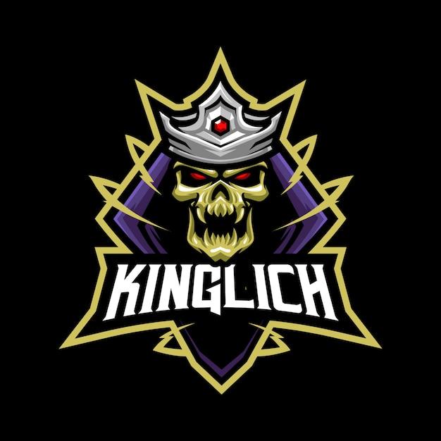 Ilustração de mascote rei diabo para esportes e esports logo isolado em fundo cinza escuro Vetor Premium