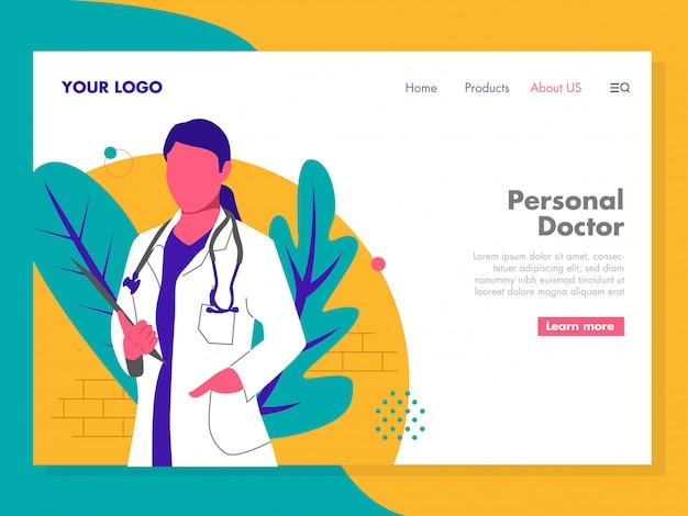 Ilustração de médico para a página de destino Vetor Premium