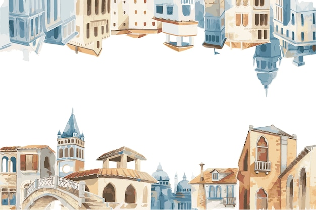 Ilustração, de, mediterrâneo, cidade, predios, exterior, cor água, estilo Vetor grátis