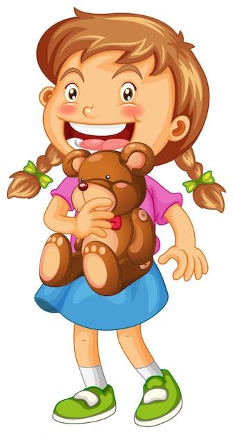 Ilustração de menina abraçando ursinho marrom Vetor grátis