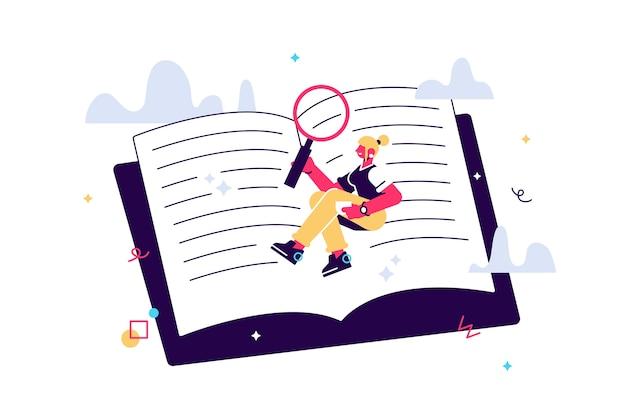 Ilustração de menina bonita colocar em um grande livro e ler. aluno, leitor de livros, pesquisador. estudando o conceito. Vetor Premium