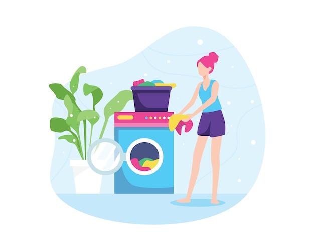 Ilustração de menina lavando roupas Vetor Premium