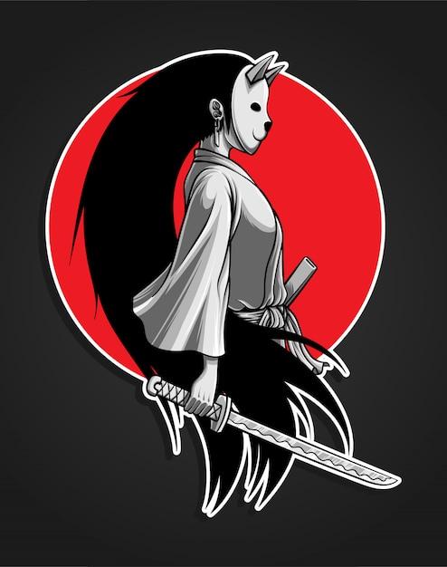 Ilustração de menina mascarada samurai Vetor Premium