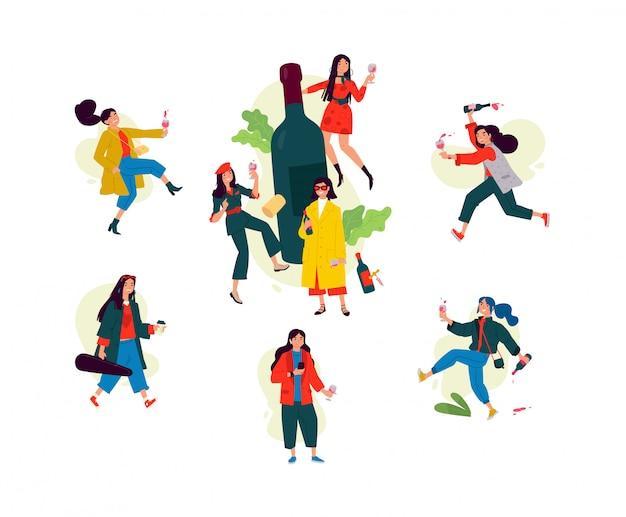 Ilustração de meninas dançando em torno de uma garrafa de vinho. as mulheres celebram o feriado, se divertem e relaxam. Vetor Premium