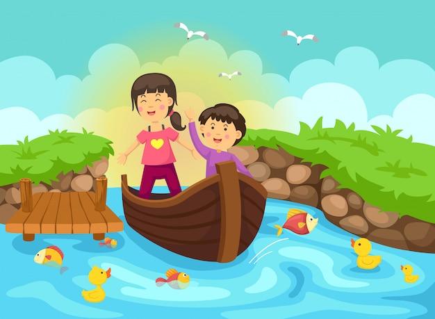 Ilustração, de, menino menina, em, bote, para, rio Vetor Premium