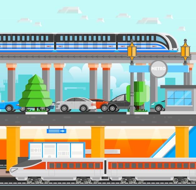 Ilustração de metrô subterrâneo Vetor grátis