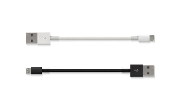 Ilustração de micro cabo usb de conector branco e preto isolado 3d realista Vetor grátis