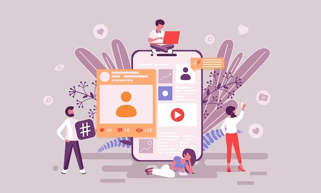 Ilustração de mídia social Vetor Premium