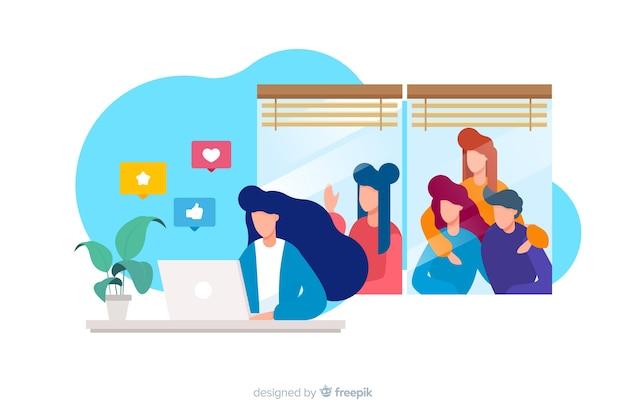 Ilustração de mídias sociais matando o conceito de amizades Vetor grátis