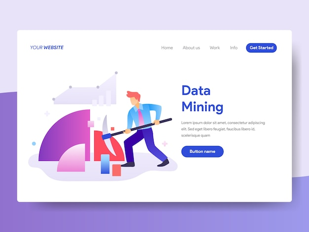 Ilustração de mineração de dados para a página inicial Vetor Premium