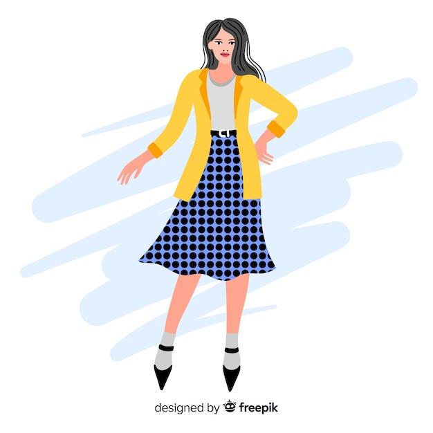 Ilustração de moda com modelo feminino Vetor grátis