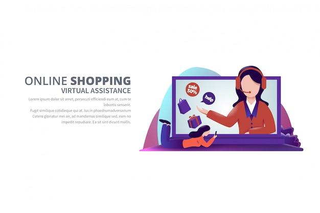 Ilustração de modelo de banner de compras on-line de assistência virtual Vetor Premium