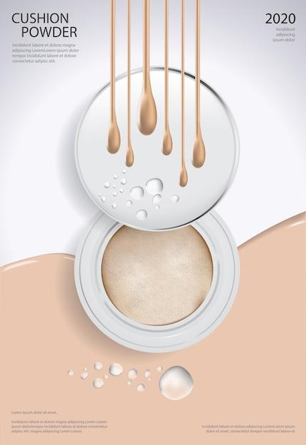 Ilustração de modelo de cartaz de almofada em pó maquiagem Vetor Premium