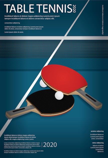 Ilustração de modelo de cartaz de tênis de mesa de pingue-pongue Vetor grátis