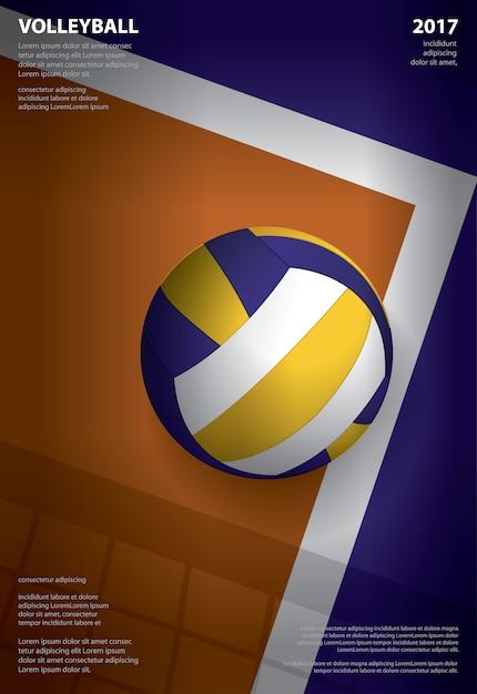 Ilustração de modelo de cartaz de torneio de voleibol Vetor Premium