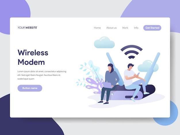 Ilustração de modem sem fio para a página do site Vetor Premium