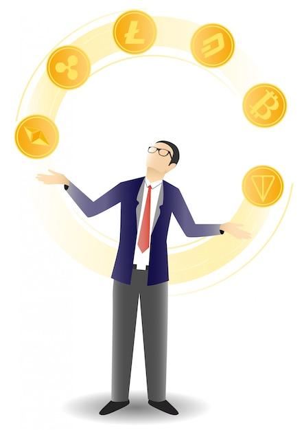 Ilustração de moedas de criptografia de malabarismo de empresário Vetor Premium