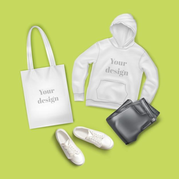Ilustração de moletom, jeans preto, bolsa de lona branca e tênis, roupas de moda casual e conjunto de acessórios Vetor Premium