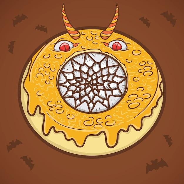 Ilustração de monstro assustador de donut de halloween Vetor Premium