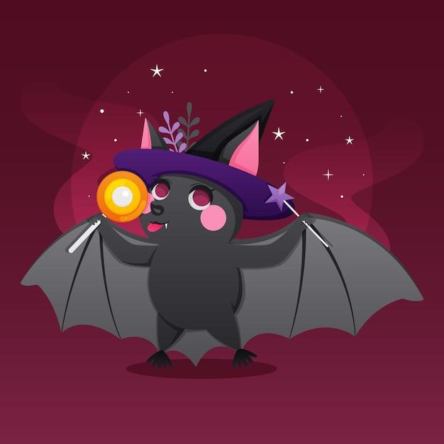 Ilustração de morcego de halloween com doces Vetor grátis