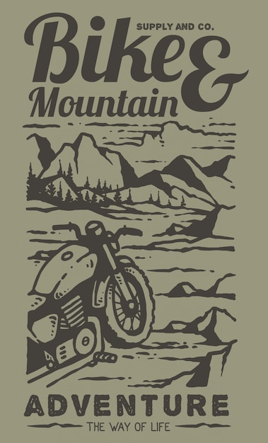 Ilustração de moto personalizada retrô no topo da montanha Vetor Premium