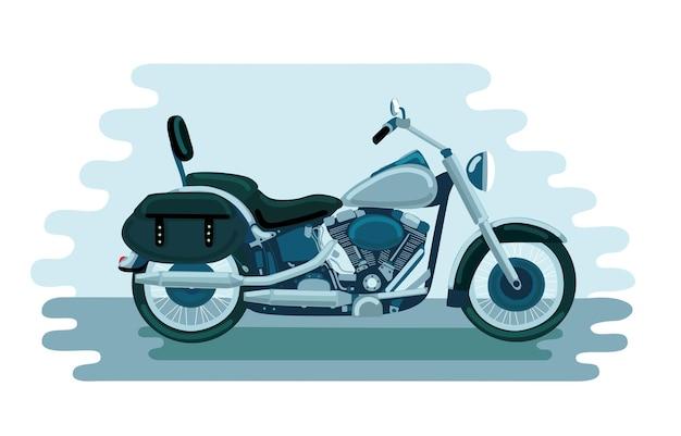 Ilustração de motocicleta americana da velha escola; Vetor Premium