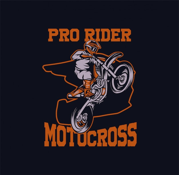 Ilustração de motocross pro rider Vetor Premium