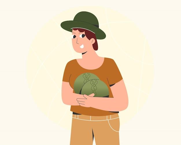 Ilustração de mulher colhendo vegetais na jardinagem Vetor Premium