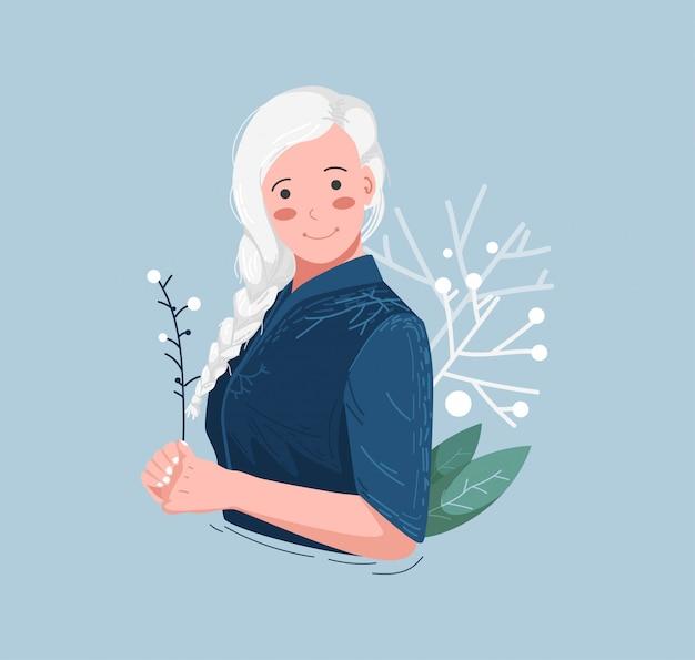 Ilustração de mulher de cabelos brancos Vetor Premium