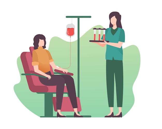 Ilustração de mulher doando sangue Vetor Premium