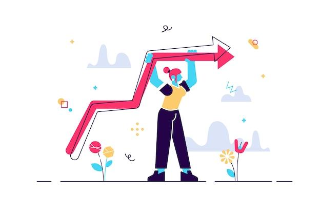 Ilustração de mulher em pé com gráfico crescente Vetor Premium