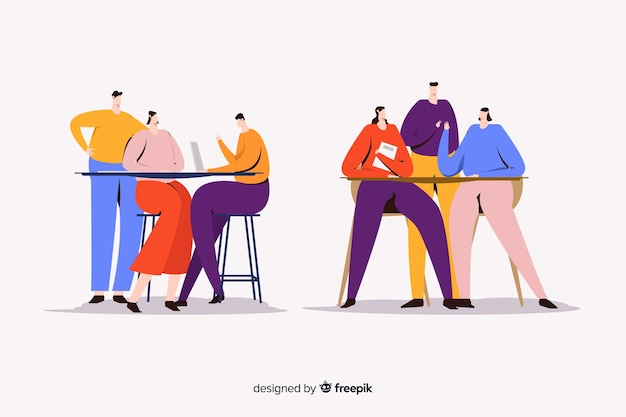 Ilustração de mulheres jovens a passar tempo juntos Vetor grátis