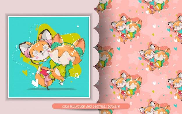 Ilustração de música raposa fofa e padrão sem emenda Vetor Premium