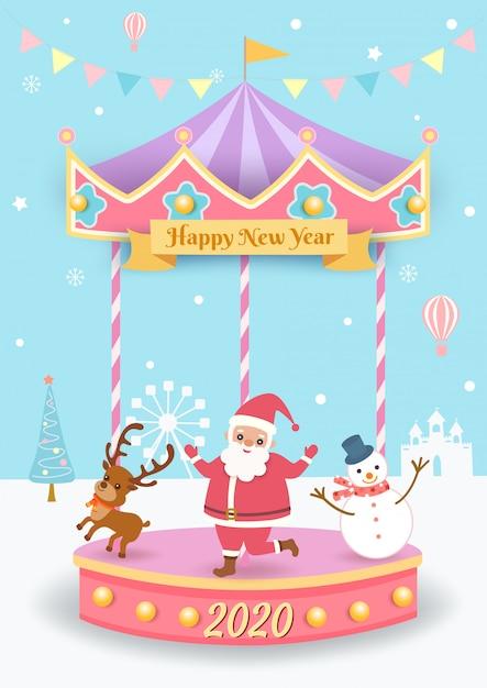 Ilustração de natal com papai noel, rena e boneco de neve jogando feliz girar Vetor Premium