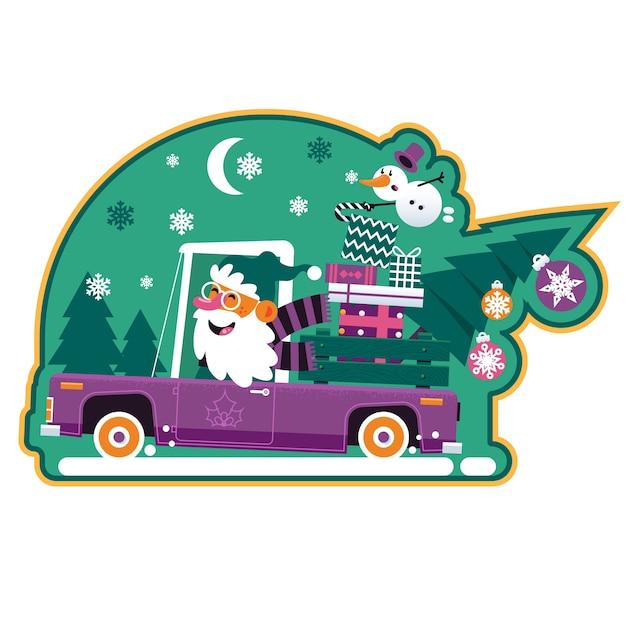 Ilustração de natal com papai noel Vetor Premium